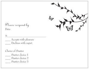Butterfly wedding invitations - RSVP Cards