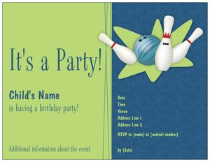 bowling invitations - Child Birthday