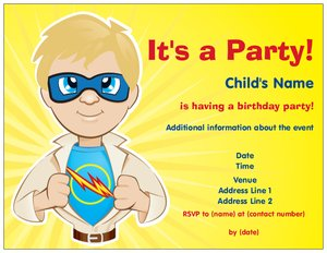 superhero birthday invitations - Child Birthday