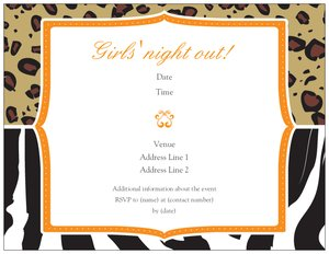 zebra print invitations - Stag & Hen Parties