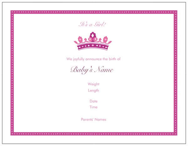 princess baby shower invitations birth announcements
