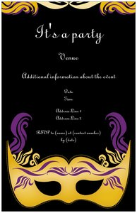 costume party invitations - Mardi Gras