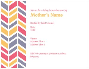 Chevron baby shower invitations