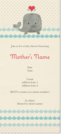 gray whale baby shower vertical flat invitations 4 x8 animal gr